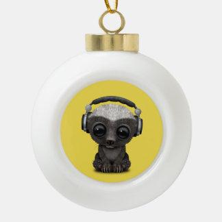 Cute Baby Honey Badger Dj Wearing Headphones Ceramic Ball Christmas Ornament