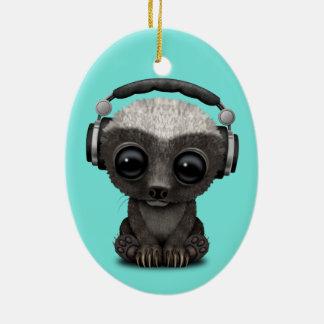 Cute Baby Honey Badger Dj Wearing Headphones Ceramic Ornament