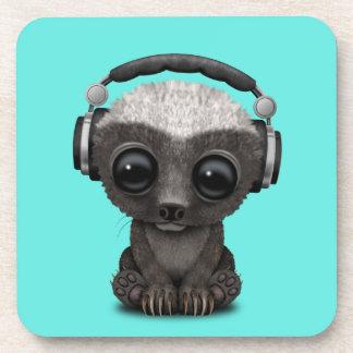 Cute Baby Honey Badger Dj Wearing Headphones Coaster