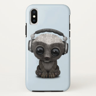 Cute Baby Honey Badger Dj Wearing Headphones iPhone X Case