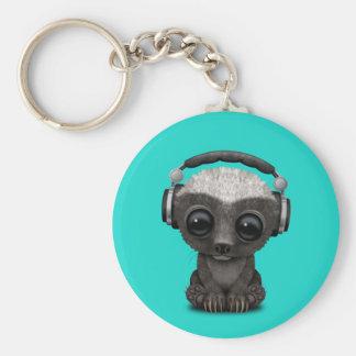 Cute Baby Honey Badger Dj Wearing Headphones Key Ring