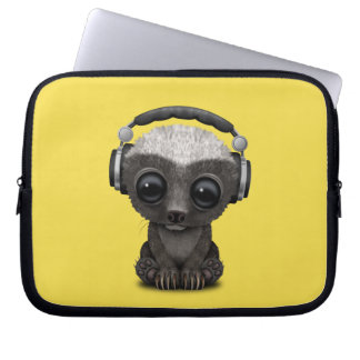 Cute Baby Honey Badger Dj Wearing Headphones Laptop Sleeve