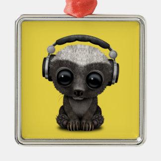 Cute Baby Honey Badger Dj Wearing Headphones Metal Ornament