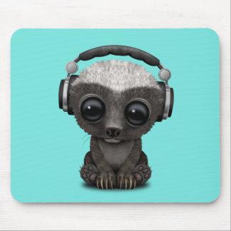 Cute Baby Honey Badger Dj Wearing Headphones Mouse Pad