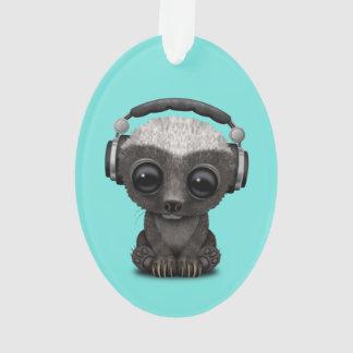 Cute Baby Honey Badger Dj Wearing Headphones Ornament