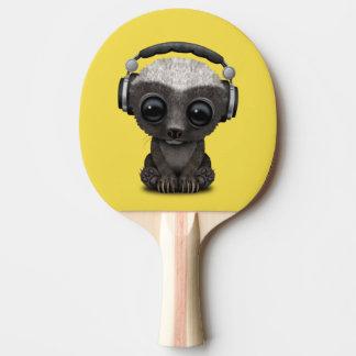 Cute Baby Honey Badger Dj Wearing Headphones Ping Pong Paddle