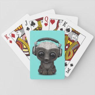 Cute Baby Honey Badger Dj Wearing Headphones Playing Cards