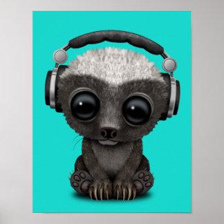 Cute Baby Honey Badger Dj Wearing Headphones Poster