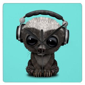 Cute Baby Honey Badger Dj Wearing Headphones Square Wall Clock
