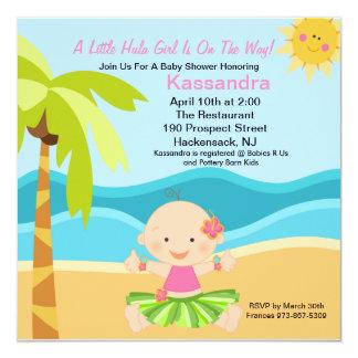 Cute Baby Hula Girl  Baby Shower Invitation