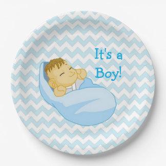 "Cute Baby in Blue, ""It's a Boy"" Baby Shower Plate"