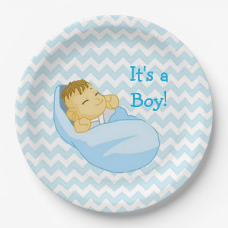 """Cute Baby in Blue, """"It's a Boy"""" Baby Shower Plate 9 Inch Paper Plate"""