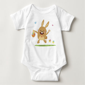 Cute baby jumper with funny hopping bunny baby bodysuit