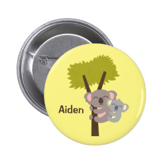 Cute Baby Koala Bear and Mommy For Kids 6 Cm Round Badge