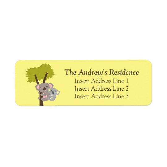 Cute Baby Koala Bear and Mummy Return Address Label