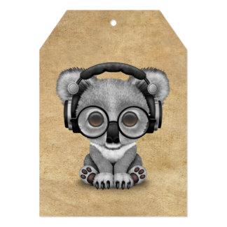 Cute Baby Koala Bear Dj Wearing Headphones 13 Cm X 18 Cm Invitation Card