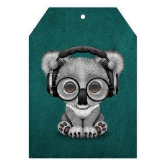 Cute Baby Koala Bear Dj Wearing Headphones on Blue 13 Cm X 18 Cm Invitation Card