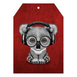 Cute Baby Koala Bear Dj Wearing Headphones on Red 13 Cm X 18 Cm Invitation Card