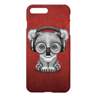 Cute Baby Koala Bear Dj Wearing Headphones on Red iPhone 7 Plus Case