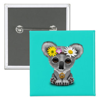 Cute Baby Koala Hippie 15 Cm Square Badge
