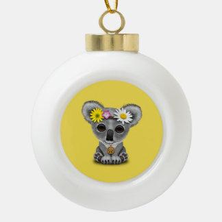 Cute Baby Koala Hippie Ceramic Ball Christmas Ornament