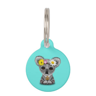 Cute Baby Koala Hippie Pet Tag