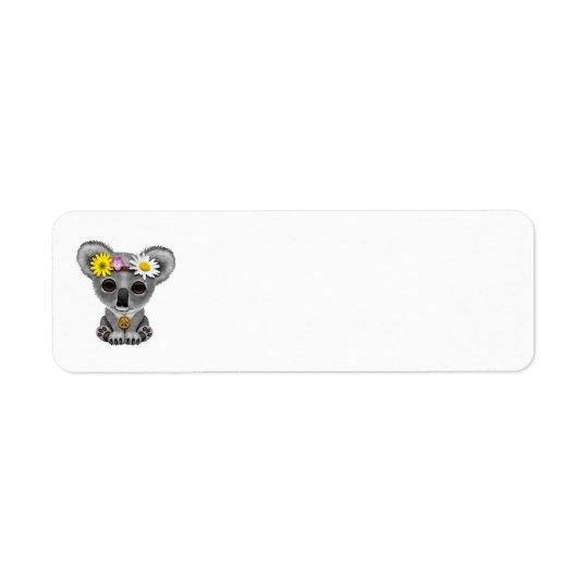 Cute Baby Koala Hippie Return Address Label