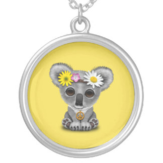 Cute Baby Koala Hippie Silver Plated Necklace