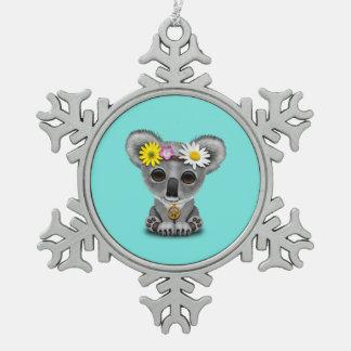 Cute Baby Koala Hippie Snowflake Pewter Christmas Ornament