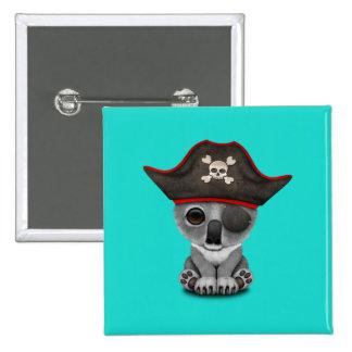 Cute Baby Koala Pirate 15 Cm Square Badge