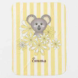 Cute Baby Koala Yellow Stripes Baby Name Pramblanket