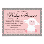 Cute Baby Lamb and Polka Dots Baby Shower 13 Cm X 18 Cm Invitation Card