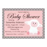 Cute Baby Lamb and Polka Dots Baby Shower 13 Cm X 18 Cm Invitation Card
