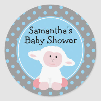Cute Baby Lamb and Polka Dots Personalized Round Sticker