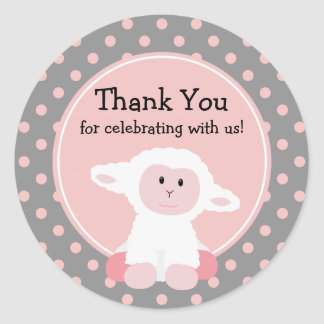 Cute Baby Lamb and Polka Dots Thank You Round Sticker