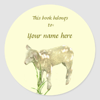 Cute Baby Lamb on Yellow Bookplate Round Sticker