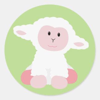 Cute Baby Lamb Round Sticker