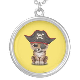 Cute Baby Leopard Cub Pirate Silver Plated Necklace