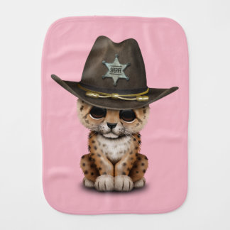 Cute Baby Leopard Cub Sheriff Burp Cloth