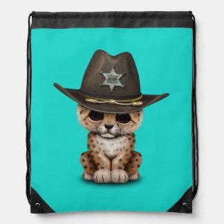 Cute Baby Leopard Cub Sheriff Drawstring Bag