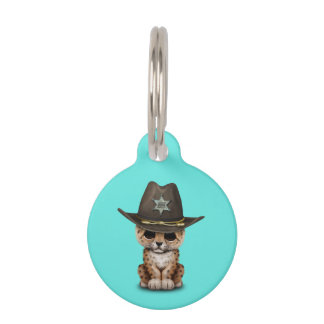 Cute Baby Leopard Cub Sheriff Pet Name Tag