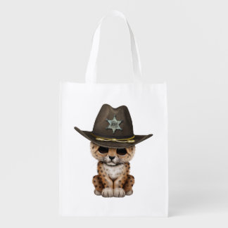 Cute Baby Leopard Cub Sheriff Reusable Grocery Bag