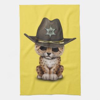 Cute Baby Leopard Cub Sheriff Tea Towel