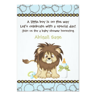 Cute Baby Lion Boys Baby Shower Invitation