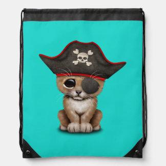 Cute Baby Lion Cub Pirate Drawstring Bag
