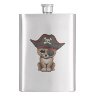 Cute Baby Lion Cub Pirate Hip Flask