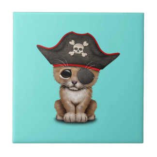 Cute Baby Lion Cub Pirate Small Square Tile