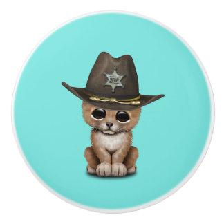 Cute Baby Lion Cub Sheriff Ceramic Knob