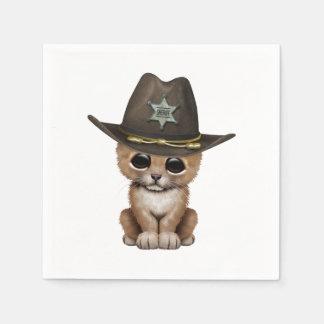 Cute Baby Lion Cub Sheriff Paper Napkin