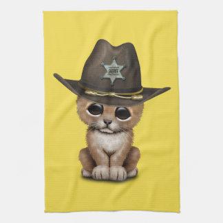 Cute Baby Lion Cub Sheriff Tea Towel